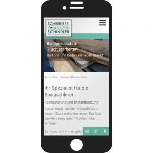 Relaunch Webseite Schreinerei Schindler Smartphone-Version