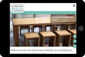 Webseite Schreinerei Schindler Tablet-Version